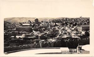 Jerusalem Israel~City Panorama~Wall~Dome Mosque~Homes~Buildings~1960s? RPPC