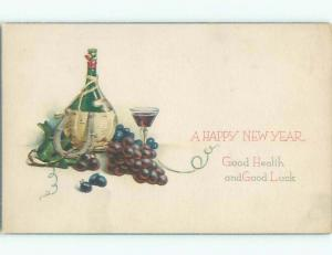 Unused Pre-Linen new year STILL LIFE - LUCKY HORSESHOE WITH WINE BOTTLE k5000