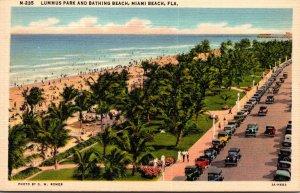 Florida Miami Beach View Of Lummus Park and Bathing Beach Curteich
