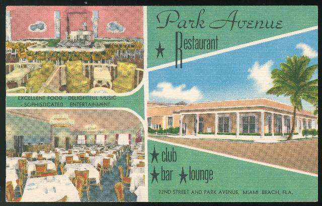 FL Miami Beach Park Avenue Restaurant Multiview Vintage MWM Linen Postc