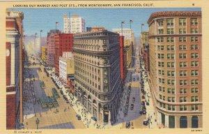 P1690 vintage unused street view market and post san francisco calif autos etc