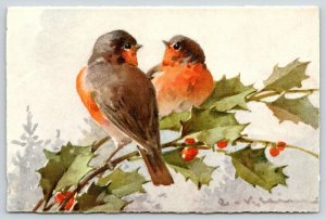 Catherine Klein~Lil Robins on Holly Berry Branch~Love Birds~Stehli No 125