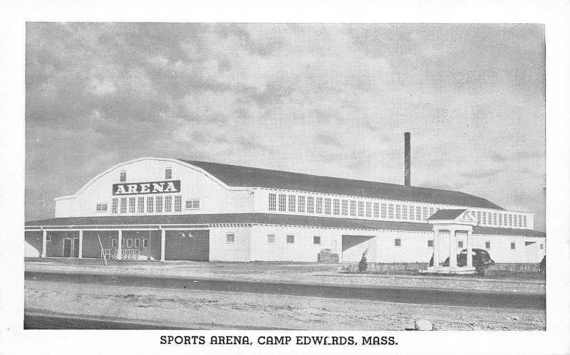 Camp Edwards Massachusetts~Army Post Sports Arena~WWII B&W Postcard