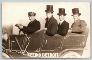 See Detroit~Chauffeur~Yarwyth? Hat Tops Other 2 Top Hats~RPPC Studio Prop c1914