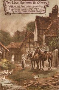 Farmyard with wporking horses Nice old vintage English postcard