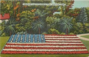 Hartford Connecticut~Elizabeth Park~American Flag Flower Garden~1940s Postcard