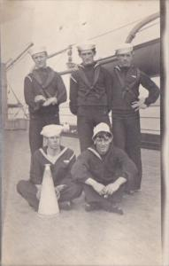 Military Sailors Posing Aboard Ship Real Photo
