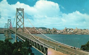 Vintage Postcard Mammoth Long Giant Spans San Francisco Oakland Bay Bridge Calif