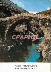 Postcard Modern Asco Corsica Bridge Genoa on Asco