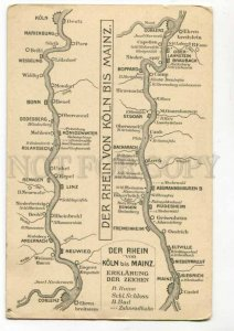 289355 GERMANY Cologne KOLN ADVERTSING Grand HOTEL & Rhein map Vintage postcard