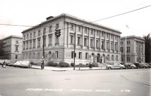 Missoula Montana~Federal Building~US Post Office~Court House~1930-40s Cars~RPPC