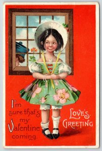 Clapsaddle Valentine~Shy Country Girl Waits At Window~Sure He's Coming~Red Back