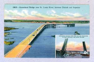 Arrowhead Bridge over St. Louis River, unused linen Curteich Postcard
