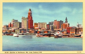 Maryland Baltimore Skyline From Federal Hill 1943 Curteich