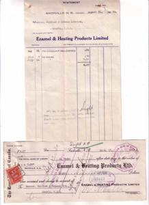 1934, Invoice and Cheque, Enamel Heating 1934 Sackville New Brunswick