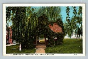 Petoskey MI, Scenic Pennsylvania Park, Summer House, Vintage Michigan Postcard