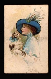 010582 Lady in Stylish HAT & KITTEN by POWELL vintage PC