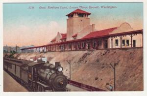 P299 JL 1907-15 postcard everett washington rr steamer depot