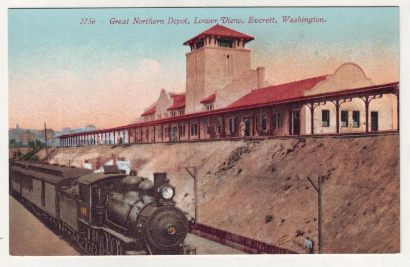 P299 JL 1907-15 postcard everett washington rr steamer depot