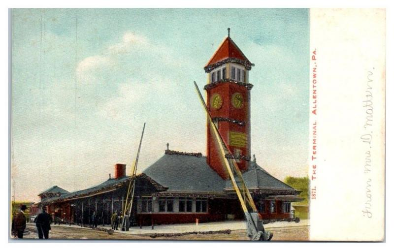 Early 1900s Railroad Train Terminal, Allentown, PA Hand-Glittered Postcard
