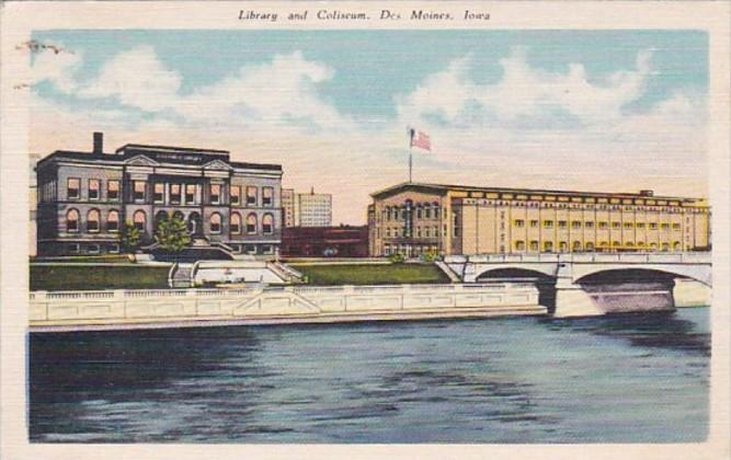 Iowa Des Moines Library and Coliseum 1945