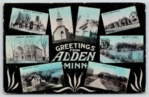 Alden Minnesota~Multi Mini Views~North South Broadway~School~Church~Gem~c1910