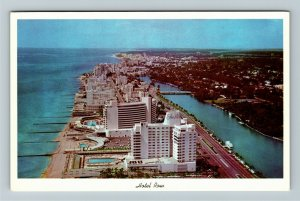 Miami FL- Florida, Aerial, Oceans, Hotel Row, Chrome Postcard