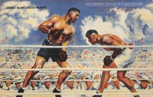 Jack Dempsey Knocks Out Jess Willard Boxing Match NYC c1940s Vintage Postcard