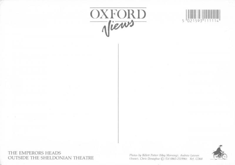 Postcard OXFORD Emperors Heads outside the Sheldonian Theatre