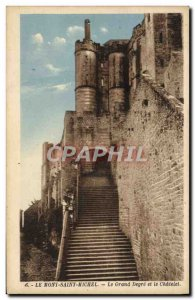 Old Postcard Mont Saint Michel Grand Degre and Chatelet