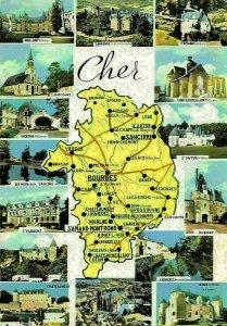 France Cher Map Sancoins Vierzon Brinon Aubigny Lignieres Chateauneuf Postcard