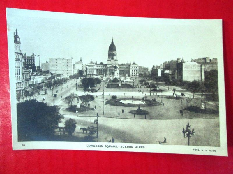 Old Postcard Argentina Buenos Aires Congress Square