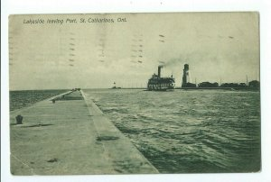 Postcard Lakeside Leaving Port, St. Catharines Ontario Canada 1909 VPC01.