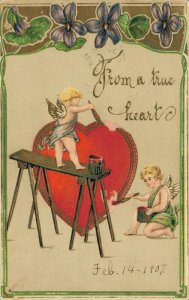 From a True Heart Valentines Day Embossed Postcard Heart Painting 04.02