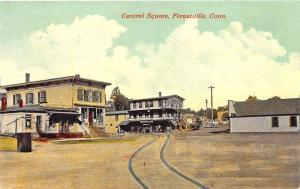Forestville CT Central Square Store Fronts Trolley Tracks Postcard