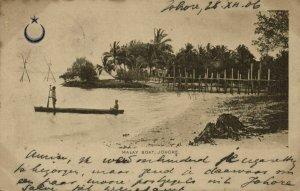 malay malaysia, JOHOR JOHORE, Malay Boat (1906) Postcard