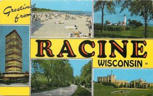 Racine Wisconsin~Big Letter~Johnson & Son Inc~Lake Front Beach~Lighthouse~Linen