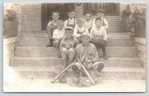 RPPC Littler Than Little League Boys of Summer~Sandlot Baseball Team~Gloves~1910