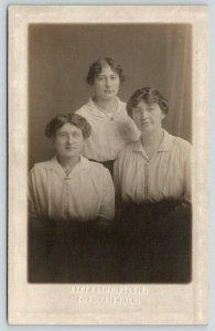 Champaign Illinois~Abernathy Studio Portrait~3 Young Ladies~Students? c1914 RPPC