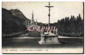 Old Postcard Lourdes Breton Calvary and the Basilica