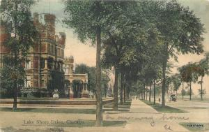 1909 Chicago Illinois Lake Shore Drive hand colored postcard McFarlane 7672
