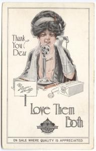Boston MA Candy Foss Premiere Chocolates Telephone Woman Rare Poster Postcard