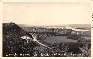 Guttenberg Iowa~South View Birdsye Panorama~I Live Here X~1944 Real Photo~RPPC