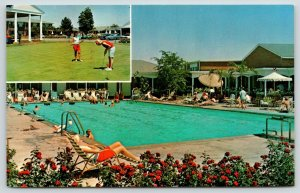 Columbus Ohio~Lincoln Lodge~Resort Hotel~Pool~Golf Course~Golfer Putts~1960s