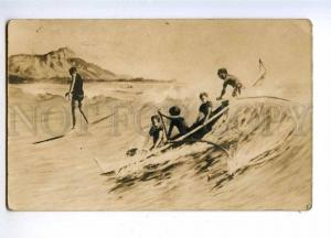 191682 USA Hawaii surfing Vintage postcard