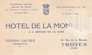 Hotel De La Monnaie Troyes 1939 WW2 Receipt