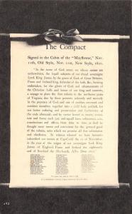 Patriotic~The 1620 Mayflower Compact~Text~Signatures~Black Back~1930s Postcard