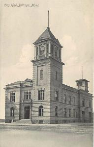 BILLINGS, Montana MT    CITY HALL   c1910's Postcard