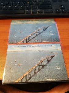 Antique/Vintage Florida Postcard, Magnificent Air View of Sunshine Skyway...