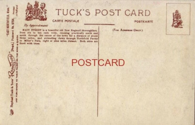 Tuck & Sons EAST NORTHFIELD, MASS. No. 5704 MAIN STREET